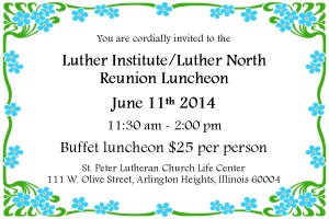 Luther Institute Luncheon 2014 Post Card Invite